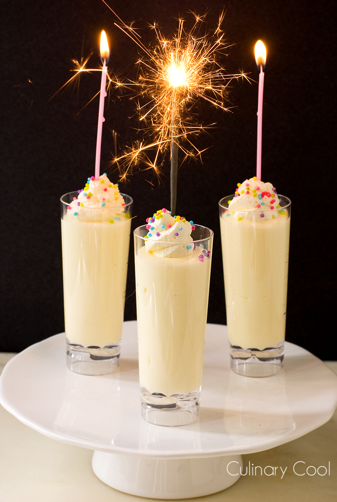 Birthday Cake Pudding Shots via Culinary Cool