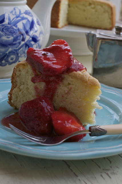 Genoise with Strawberry Ice Wine Sauce via More Than Burnt Toast