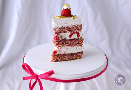 Raspberry Cake with Pistachio and Rose Water Swiss Meringue Buttercream via Giramuk's Kitchen