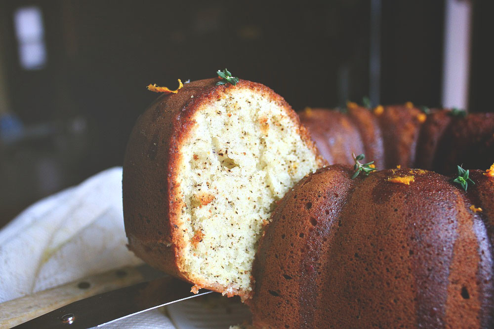 Earl Grey Bundt Cake with Blood Orange Syrup via Killing Thyme